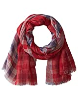 D&Y Women's Reversible Americana Plaid Scarf, Red, One Size