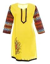 Artinic Hand Painted Women's Cotton Regular Fit Kurti (ARTK0033, Yellow, 46)