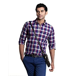 BASICS CASUAL CHECKED PURPLE 100% COTTON SLIM SHIRT