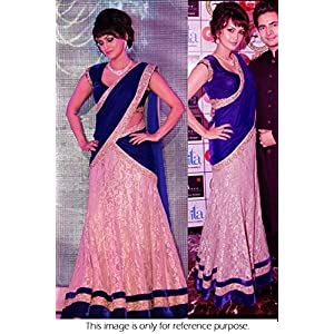 Bollywood Replica Model Silk Georgette and Chiken Net Lehenga In Blue and Beige Colour NC741