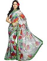 Pagli multi colour georgette printed saree with parsi thread border.