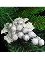 Christmas Xmas Tree Decoration Plug Foliage Christma Tree Hanging Grape Decoration (Silver)