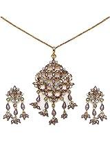 Johareez 24.50 Grams Purple & White Cubic Zircon Pendant set for Womens