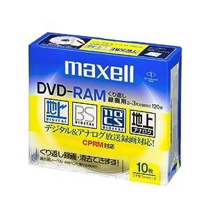【クリックで詳細表示】maxell 録画用 DVD-RAM 120分 3倍速対応 10枚 5mmケース入 DRM120ES.S1P10S: パソコン・周辺機器
