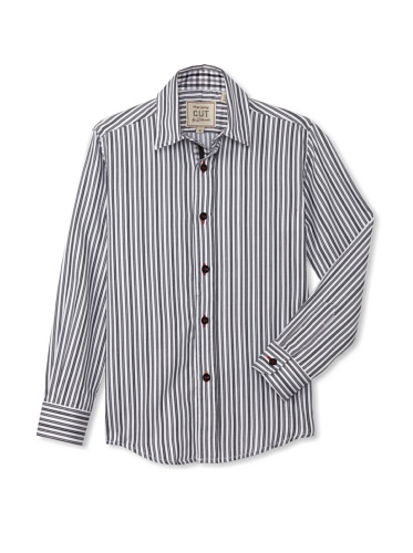 CUT By 2 Blondes Boys Just Saying Long-Sleeve Button-Up (Black/White Stripe)