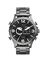 Fossil Nate Black Dial Smoke- Tone Stainless Steel Men's Watch (JR1491)