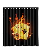 """66""""(w) x 72""""(h) Flaming Poker Cards Theme Painting 100% Polyester Bathroom Shower Curtain Shower Rings Included"""