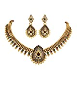 Unicorn's Traditional Gold Plated Ethnic Necklace Set with Dangle Earrings - UETMPL09WRG