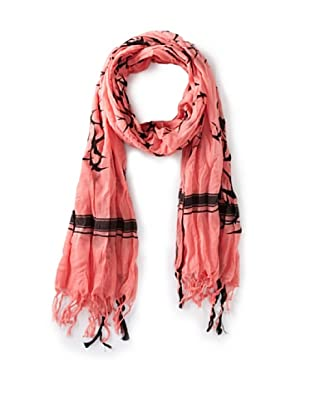 Leigh & Luca Women's Voile Fly Scarf with Tassels, Salmon/Black