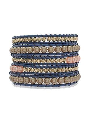 Lucie & Jade Echtleder-Armband Imitationsperlen, Kunststoffbeads blau/apricot/gold