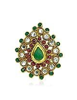 R S Jewels Gold Plated Jaipuri Green Ruby Polki Stone Adjustable Women Finger Rings