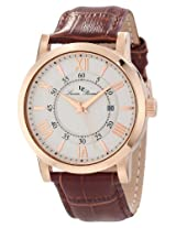 Lucien Piccard Men's 11577-RG-02S Stockhorn Silver Textured Dial Brown Leather Watch