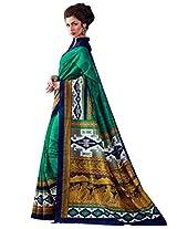 Inddus Women Sea Green Colored Bhagalpuri Printed Sari