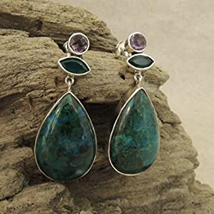 Flames of The Forest Amethyst, Aventurine and Azurite set in Sterling Silver Earring