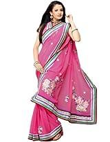 Bharat Plaza Pink And Yellow Shaded Saree