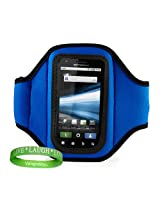 Quality BLUE Motorola Admiral (Sprint) SmartPhone Armband with Sweat Resistant Lining for Motorola Admiral Android Phone + Live * Laugh * Love VanGoddy Wrist Band!!!