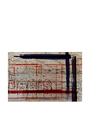 Oliver Gal 'Paris Dadaiste Revision Rouge' American Reclaimed Wood Wall Art