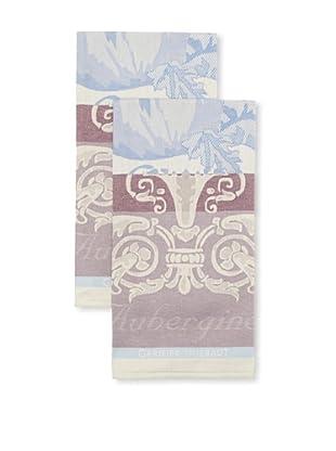 Garnier-Thiebaut Set of 2 Aubergine Bleu Kitchen Towels
