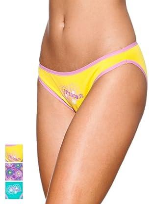 Princesa Pack x 3 Braguitas Bikini Algodón Triplets (Amarillo / Morado / Turquesa)