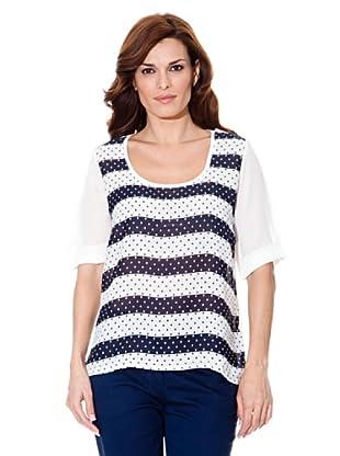 Cortefiel T-Shirt Streifen (Marine/Weiß)