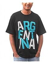 642 Stitches Men's Round Neck Argentina Basic T-Shirt (ARABT115XXL_Black Swan_XX-Large)