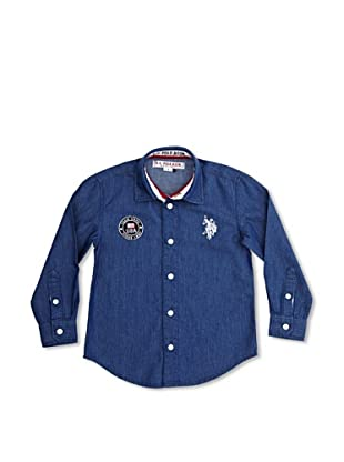 US Polo Assn Camisa Junior USA Flag (Azul Oscuro)