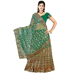 Green Net Lehenga Style Saree with Blouse