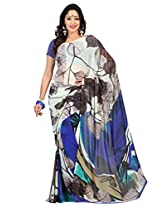 Admyrin Blue and Off-white Georgette Printed Saree with Blue Blouse Piece