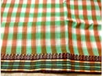 Green and white Bengal Cotton Tant Gamcha Saree Without Blouse Piece.