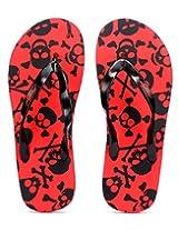 Freetoes Men Skull Red And Black Flip Flops (FTSKURED09) 10 UK