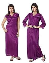 KuuKee Women's Satin Wine Colored Nightwear (10038_Wine_L)