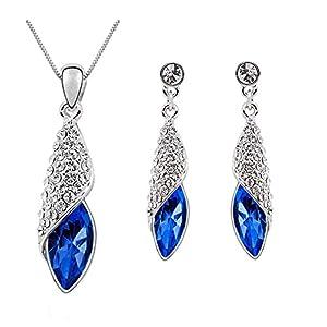 Eterno Fashions Persian Blue Swarovski Crystal Pendant & Earring Set For Women