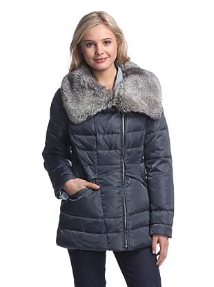 Vince Camuto Women's Down Jacket with Faux Fur Collar (Smoke/Grey Faux Fur)