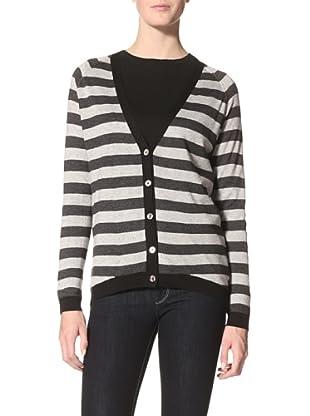 Kokun Women's Striped Reversible Cardigan (Grey/Charcoal)