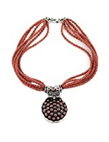 925-Silver Coral Princess Gemstone Necklace With Pendant For Women 11620
