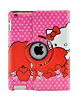 LiViTech(TM) Hello Kitty Design 360 Degree Rotating PU Leather Hard Case for Apple iPad 4 3 2 iPad Mini (iPad 4 3 2 Color 6)