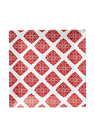Q Squared NYC Red Diamond Square Serving Platter