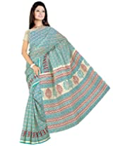 Somya Women's Blue Gadwal Cotton Printed Saree