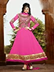 11003_Nice Pink Georgette Heavy Embroidered Anarkali Suit