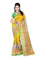 Jai Maa Ambey Creation Women's Cotton Silk Saree (Yellow)