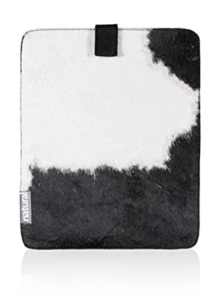 Natural iPad Cowhide Case (Black/White)