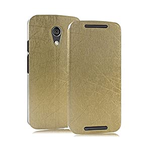 Heartly Premium Luxury PU Leather Back Case Cover For Moto G 2nd Gen XT1068 (Gold)