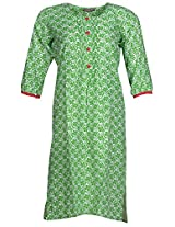 Bunkaari India Women's Cotton Regular Fit Kurti (00LK 11_40, Green and white, 40)