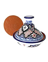 Le Souk Ceramique CT-TIB-22 Cookable Tagine, 9-Inch, Tibarine Design