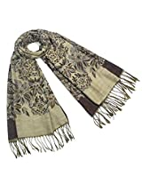 Dahlia Women's Scarf Shawl - Reversible Blooming Floral Garden - Coffee