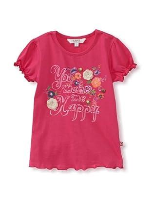 KANZ Girl's Cap Sleeve T-Shirt (Fuchsia)