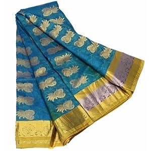 Kanchipuram Metallic Seaweed Color Fancy Silk Saree
