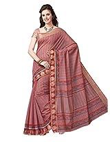 Jevi Prints Pink Gadwal Cotton Saree with Blouse Piece