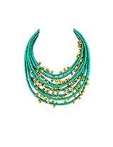 Monisha Daga Metal Pendant For Women Green - NE26-GN