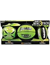 Franklin Sports Mini 3 Pack Football/Basketball/Soccer Ball-Green
